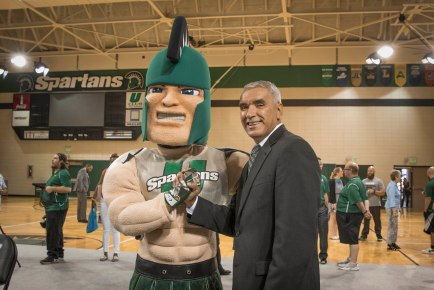 James Parham as Sparty with AD Julio Freire. Photo courtesy of Les Duggins Sr.